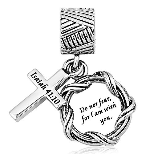 (Charmed Craft Religious Charms Cross Charms Prayer God Charms for Charm Bracelets (do not Fear for i am with You))