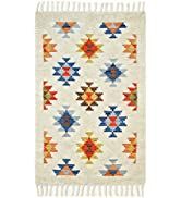 Solo Rugs Roger Shaggy Moroccan Bohemian Handmade Hand-Knotted Southwestern Ivory Indoor Kitchen ...