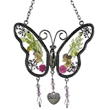 Kolin Grandma Butterfly Suncatcher Wind Chime with Pressed Flower Wings Embedded in Glass with Metal Trim Grandma Heart Charm - Gifts for Grandma