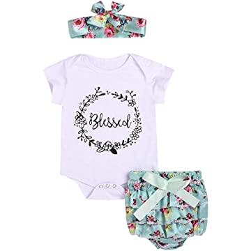 Lantusi Baby Girl Round Neck Short Sleeve Romper Ruffle Shorts Set with Head Band Clothing Sets