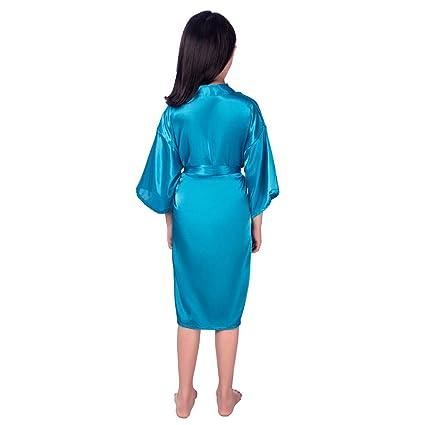 Amazon.com: DAFREW Girls Satin Kimono Robe Very Comfortable Bathrobe Silk Nightgown Solid Color Home Clothing Ages 5-14. (Color : Blue, Size : 10): Home & ...