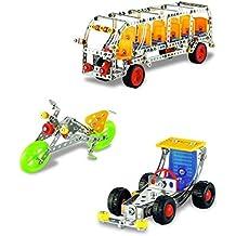 Lightahead Assembly Metal Model Kits Toy Building Puzzles Metal 3 Vehicle Models Kits Construction Play Set, 605 pcs traffic series (Bus, Racing Car, Motorcycle)