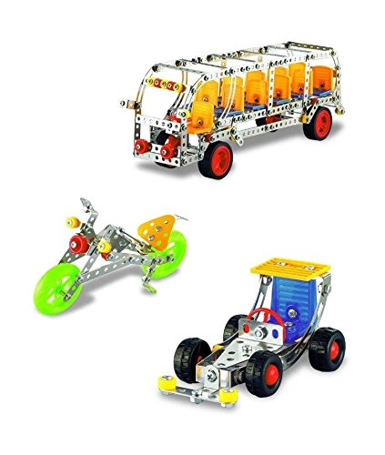 Lightahead Assembly Metal Model Kits Toy Building Puzzles Metal 3 Vehicle Models Kits Construction Play Set, 605 pcs traffic series (Bus, Racing Car, Motorcycle)