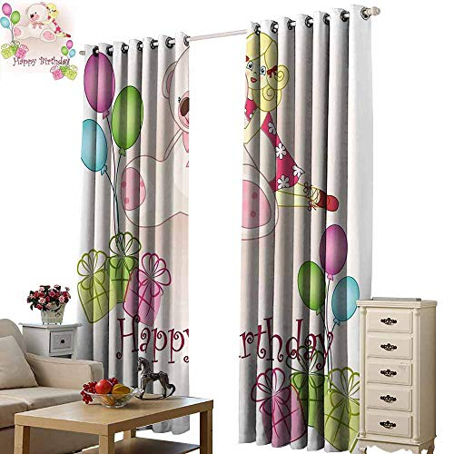 Warm Family Kids Birthday Heat Insulation Curtain Baby Girl Birthday with Teddy Bears Toys Balloons Surprise Boxes Dolls Image Noise Reducing W72 x L96 Pale Pink from Warm Family