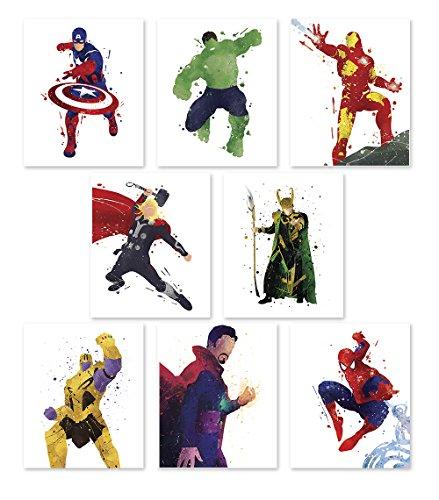 quality design 92b28 1cdf0 PGbureau Superhero Wall Poster- Avengers Infinity War Art Prints - Set of 8  - Hulk - Loki - Iron Man - Captain America ...