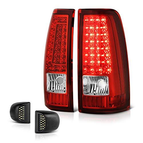 - VIPMOTOZ Red Lens C-Bar LED Tail Light + Full-LED License Plate Lamp Housing Replacement Bundle For 1999-2002 Chevy Silverado & 1999-2006 GMC Sierra 1500 2500 3500 Pickup Truck