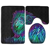 Art Lion Microfiber Bathroom Contour Rugs Combo,Set of 3 Soft Shaggy Non Slip Bath Shower Mat Rectangle-Shaped U-Shaped and O-Shaped Toilet Floor Rug