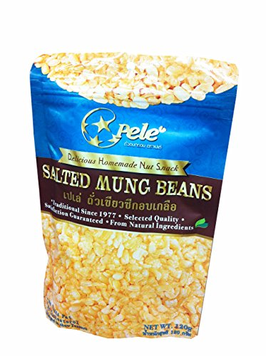 6 Packs of Salted Mung Beans, Deliicious Homemade Nut Snack From Pele Brand, Selected Quality From Natural Ingredients. (No Trans Fat, No Cholesterol) (120g/ Pack)