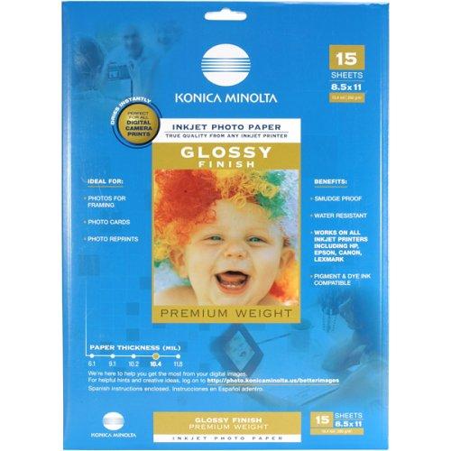 Konica LB92645 Minolta Premium Glossy Photo Paper (8.5x11, 15 Sheets) - Konica Photo Paper