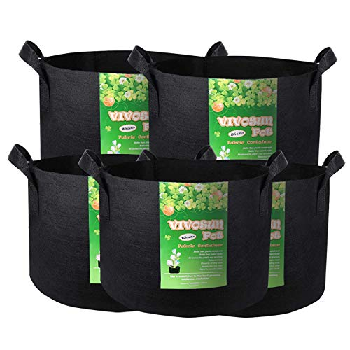 VIVOSUN 5-Pack 25 Gallon Plant Grow Bags, Premium Series 300G Thichkened Non-Woven Aeration Fabric Pots w/Handles - Reinforced Weight Capacity & Extremely Durable (Black) (Best Way To Plant Turnip Seeds)