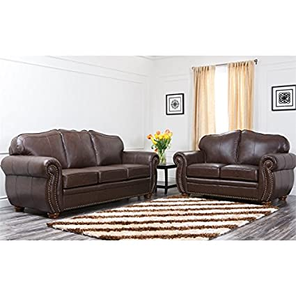Superbe Abbyson Living Macina Italian Leather Sofa Sets In Dark Truffle