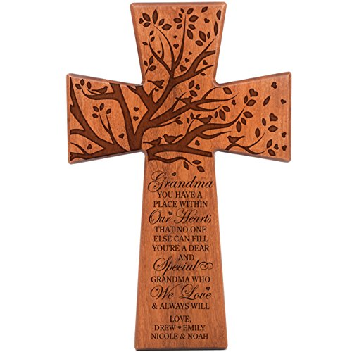 LifeSong Milestones Grandma Gifts Personalized Cherry Wood Wall Cross Grandparent Gift Ideas for Grandmother 7 x 11