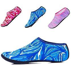 JIASUQI Womens and Mens Water Sports Sneaker Aqua Socks For Pool Swimming Water Aerobics Blue/Camou US 8.5-10.5 Women,7-8 Men