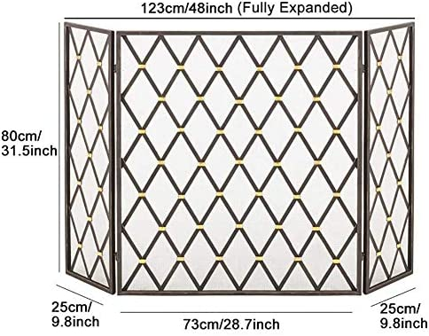 暖炉スクリーン木材や石炭焼成、ストーブ、グリル用メッシュダイヤモンドパターン、ブラックメタルファイアガードスパークフェンス付き大型3パネル