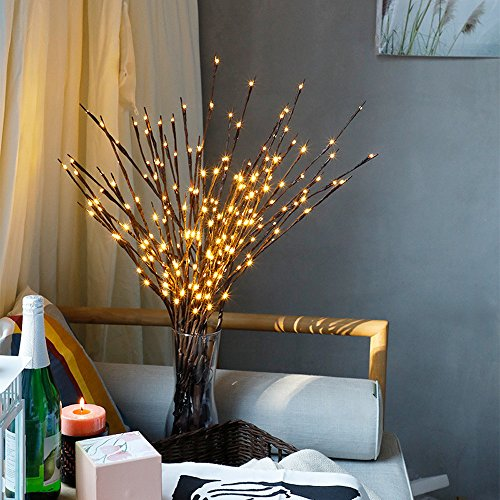 40' Drop Leaf Table - Pausseo 15-Pack LED Willow Branch Lamps Christmas 60 Bulbs Warm White Party Home Garden Decor Soft Light Party Garden Decoration Tree Branches Holiday Bedroom Camping Hanging Outdoor Xmas Gift Candle