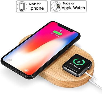 Rhidon - Cargador inalámbrico 2 en 1 DE Madera para Apple Watch, Qi Carga inalámbrica Rápida Pad para iPhone X/iPhone 8/iPhone 8 Plus y Otros ...