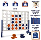 Giant 4 in A Row, 4 to Score - Premium Wooden Four Connect Game Set in 4' White Wood by Rally & Roar - Oversized Family Outdoor Party Games for Backyard, Lawn, Parties, Bar Game