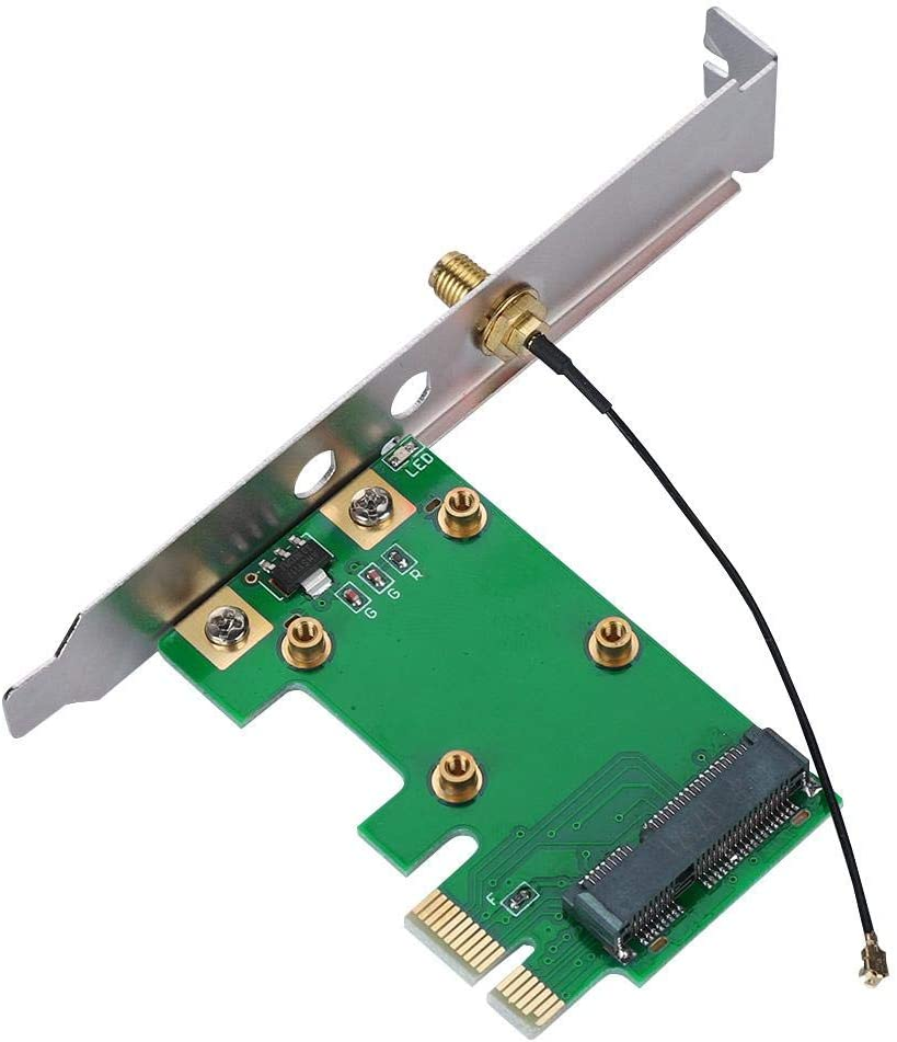 Zerone PCI Express to Mini PCI Express Card Adapter Wireless Network Ethernet LAN Mini PCI-E Riser PC to Laptop Network Card Adapter Converter Antenna WiFi