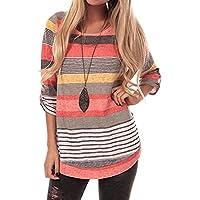 Sherosa Women's Casual Color Block Striped 3 4 Sleeve T Shirts Tunic Tops