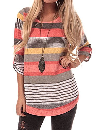 Sherosa Women's Casual Color Block Striped 3 4 Sleeve T Shirts Tunic Tops