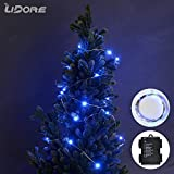 LIDORE Micro LED 60 Blue String Lights with 8 Modes. Multi Color Selectable. Waterproof Battery Box. 6 AA Battery Operated on 20.7 Ft Long Silver Color Ultra Thin String Wire.Suitable for Indoor and Outdoor (Blue)