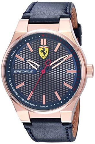 - Scuderia Ferrari Men's Speciale 3H Gold Quartz Watch with Leather Calfskin Strap, Blue, 16 (Model: 0830416)