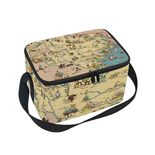 (Lunch Bag Texas State Map Cartoon Pattern Cooler for Picnic Shoulder Strap Lunchbox)