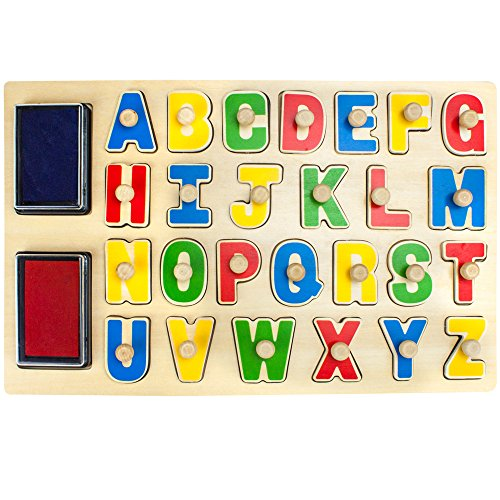 Puzzle Stampers Alphabet Peg Puzzle Board and Stamp Combo Set - 29 Peice Set!