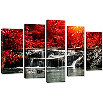 HUADAOART Hua Dao Art-HJ-0313 Canvas Prints 5 Piece Wall Art Home Decoration Painting Printed on Canvas Red Waterfall (Red)