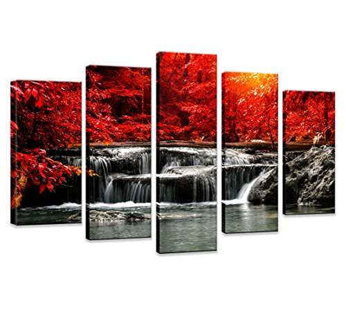 - HUADAOART Hua Dao Art-HJ-0313 Canvas Prints 5 Piece Wall Art Home Decoration Painting Printed on Canvas Red Waterfall (Red)