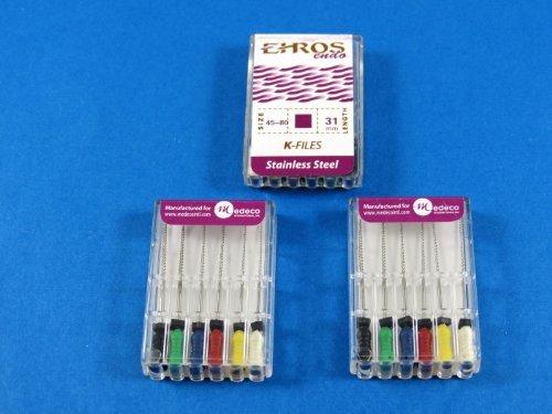 Dental Endodontic Files K 31 mm No 45-80 Stainless Steel Kit 3 / Pack EHROS by EHROS