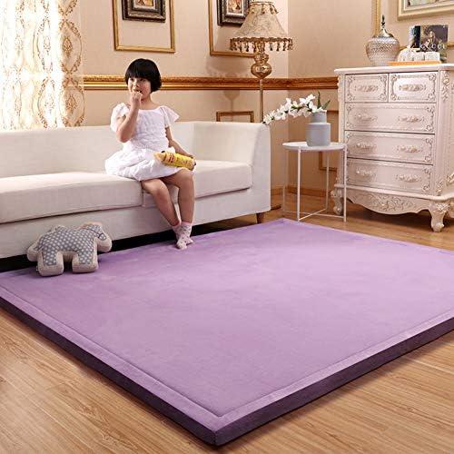 AMYDREAMSTORE Thicken Japanese Futon Carpet PadSleeping Tatami Floor MatCoral Velvet Children Crawling Matnot-Slip Area RugWomen Gym MatYoga MatBaby Play Mat Purple 200x150cm(79x59inch)