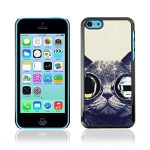 CaseCaptain Carcasa Funda Case - Apple iPhone 5C / Funny Glasses Cat Daft Punk /