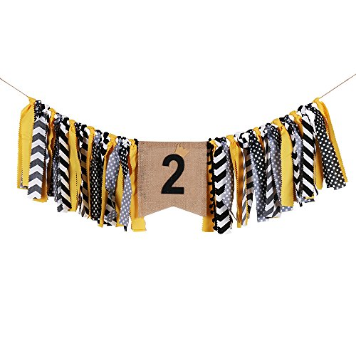 palasasa Crown boy Black and Yellow Two Banner -Handmade Second time Birthday Decorations Burlap Highchair Banner for 2st Birthday Baby Boy ()