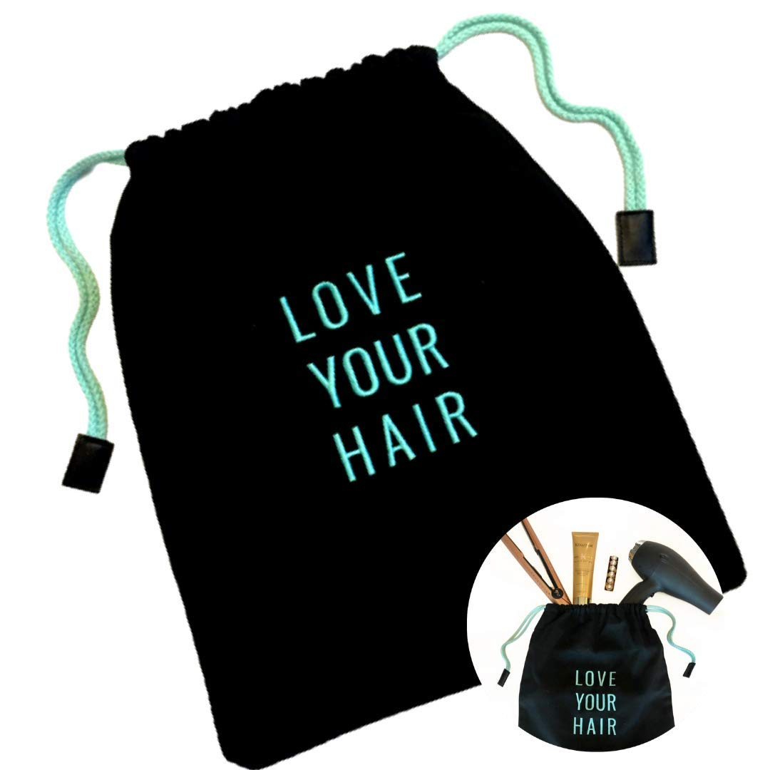 "HAIR DRYER BAG - Storage Organizer For Styling Tools - With Internal Compartment And Drawstring (15"" x 12"") - Ideal For Use At Home, Traveling, Guest Rooms, Airbnb's And Hotels"