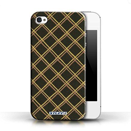 Etui / Coque pour Apple iPhone 4/4S / Jaune/Noir conception / Collection de Motif Entrecroisé