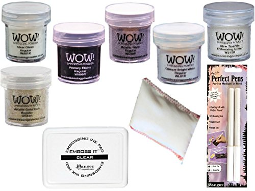 (Embossing Starter Kit with Powders, Foam Pad, Static Pad and Pens (White/Clear))