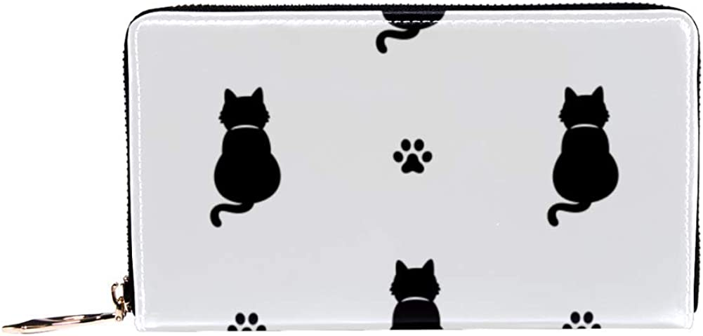 Womens Zip Around Wallet and Phone Clutch,Travel Purse Leather Clutch Bag Card Holder Organizer Wristlets Wallets,Cat Kitten Cat Paw Foot