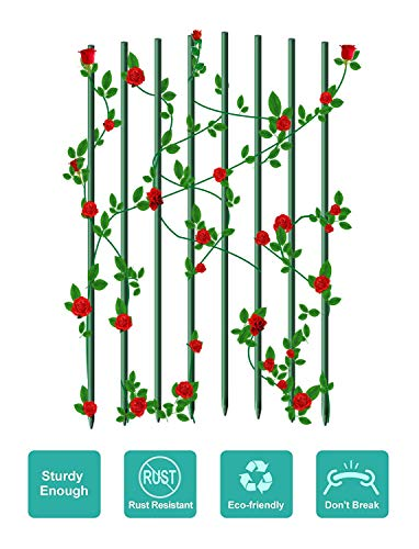 (EcoStake Garden Plants Stakes for Plants Tree Supporting Fence Post Fiberglass Rod 8ft 4Pack 3/4