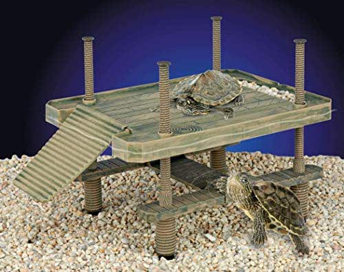 Penn Plax Reptology Large Turtle Pier for Use in and Out of Water Basking Platform for Small Reptiles