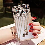 Cfrau Black Tassel Clear Case with Black Stylus for iPhone 7 Plus,Luxury 3D Crystal Glitter Sparkle Shiny Rhinestone Diamond Protective Case Compatible with iPhone 7 Plus/8 Plus 5.5 inch