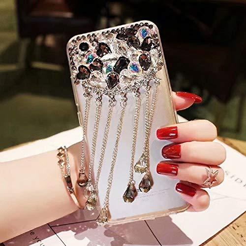 Cfrau Black Tassel Clear Case with Black Stylus for Samsung Galaxy S9,Luxury 3D Crystal Glitter Sparkle Shiny Rhinestone Diamond Protective Case Compatible with Samsung Galaxy S9 ()