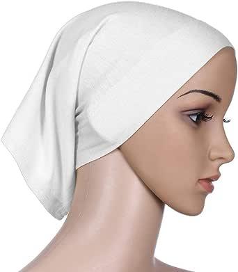 Women Turban Scarf Solid Color Cotton Muslim Turban Scarf Shawls (White)