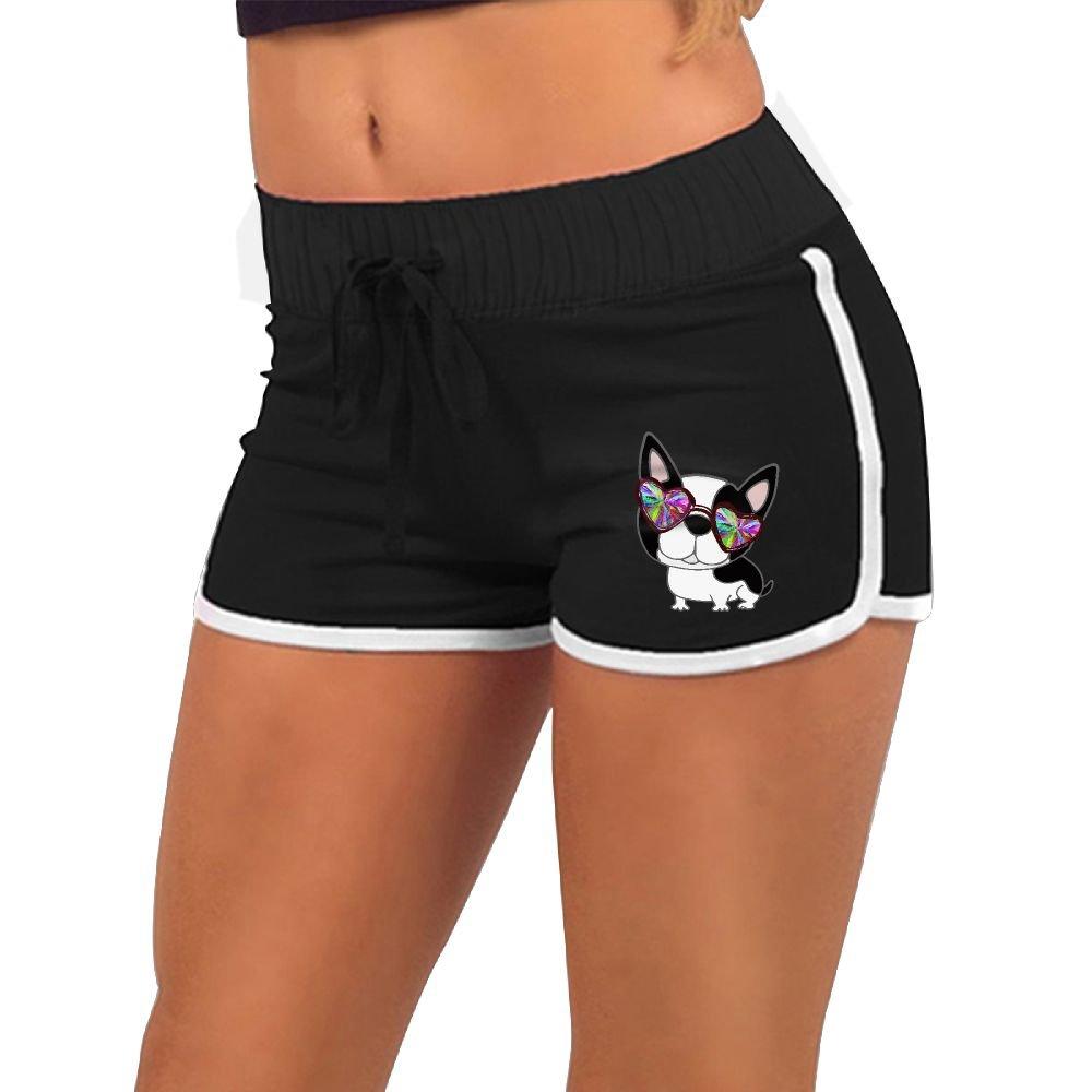 Baujqnhot Lovely Boston Terrier Funny Glasses Girls Comfort Waist Workout Running Shorts Pants Yoga Shorts