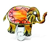 Puzzled Elephant Handcraft Art Glass and Metal Decorative Night Light Home Décor - Animals Collection - Elegant Unique Gift and Useful Souvenir - Item #9616