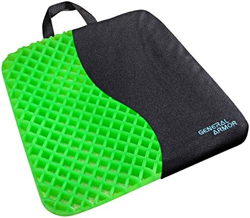 GENERAL ARMOR Gel Seat Cushion – Relieves Sciatica and Coccyx Pain – for Car, Office Chair, Wheelchair, or Home – Green Thick 1.2 inch