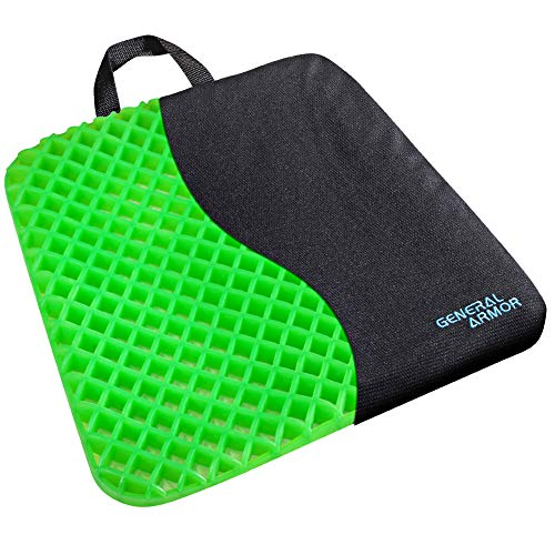 GENERAL ARMOR Gel Seat Cushion - Relieves Sciatica and Coccyx Pain - for Car, Office Chair, Wheelchair, or Home - Green