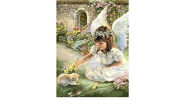 Full Diamond DIY resina cuadrado taladro dibujo la última ángeles y gatos: Amazon.es: Juguetes y juegos