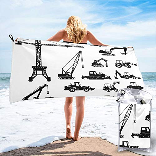 K0k2to Fast Drying Beach Travel Camping Towel,Black Silhouettes Concrete Mixer Machines Industrial Set Trucks Tractors,Quick Dry Lightweight Bath Towel