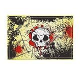 Graffiti Decor Horrible Skull with Red Blood on Rustic Wall for Halloween Bath Rugs Non-Slip Doormat Floor Entryways Indoor Front Door Mat Kids Bath Mat 15.7X23.6In Bathroom Accessories